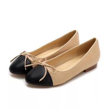 2019 summer and autumn new women's flat shoes shallow leather material bow decoration female ballet shoes