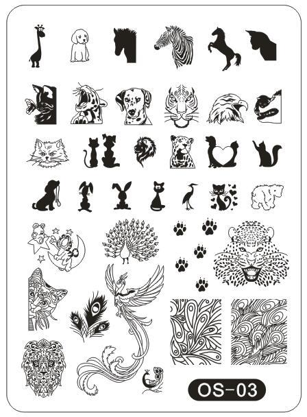 ᗔos stamping nail art cartoon plate xxl 10 14cm template peacock