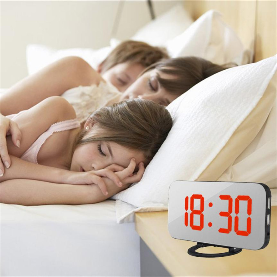Brand New Aimecor 1PC LED Digital Alarm Clock With USB Port For Phone Charger Touch-Activited Snooze Alarm Clock High Quality