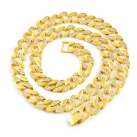 15mm 30 Hip Hop AAA Rhinestones Paved Bling Ice Out Cuban Miami Link Chain Necklaces for Men Rapper Jewelry Gold Silver Gift