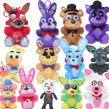 14cm Five Nights At Freddys pendant dolls FNAF Freddy Bear Mangle Foxy Chica Soft Stuffed Keychain Plush Toy Doll Kids