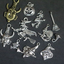 Mixed Supernatural Halloween Witch Broom Pendant Charms For Jewelry Making DIY Handmade Fashion Jewelry Accessories Vintage