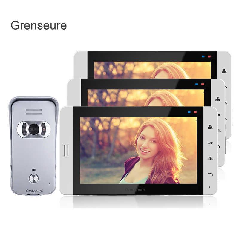 """شحن مجاني New7 """"لون شاشة تعمل باللمس تليفون باب بفيديو طقم الاتصال الداخلي مع 3 شاشات بيضاء + 700TVL كاميرا الجرس في بيع الأسهم"""