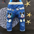 Winter Children's Clothing Kids Jeans Baby Boys Pants Girls Casual Sport Pant Mickey Pattern Denim Children Trousers Jeans