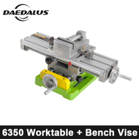 CNC Fixture 6350 Bench Drill Working Table Multifunctional X Y axis Adjustment Coordinate + 2.5 Inch Vise For Engraver Machine
