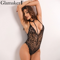 Glamaker Halter Bodycon Lace Jumpsuit Romper Elegant Foral Sleeveless Bodysuit Women Backless Slim Party Sexy Bodysuit