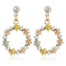 CRLEY Crystal Yellow Flowers Drop Dangle Earrings For Women Heart Round Geometric Wedding Party Earring Female Bohemian Bijoux