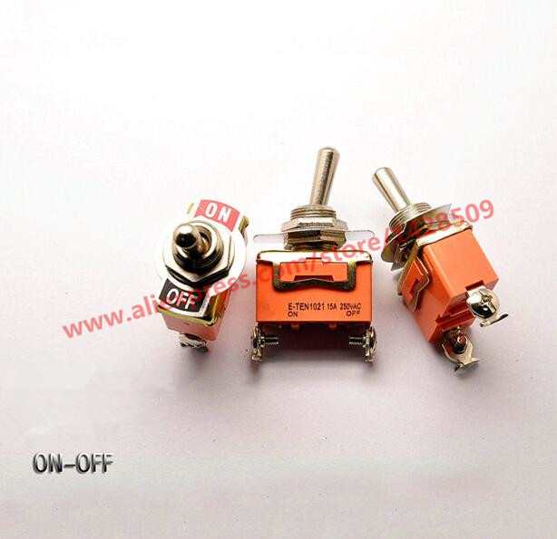 5pcs/lot E-TEN1021 2-Pin SPST 2 Terminal G109 ON-OFF 15A 250V Toggle Switch Good Quality