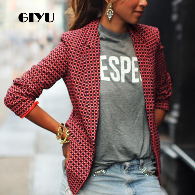 GIYU Spring Red Women Plaid Printing Blazer Long Sleeve Notched Jackets Sexy Slim Tops Casual Camiseta Mujer