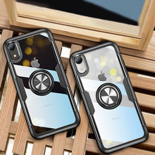 Luxury Clear Phone Case For iphone X XS Max XR Magnetic Finger Ring Shockproof Armor Case Cover For iphone 7 6 6S 8 Plus Coque цена и фото