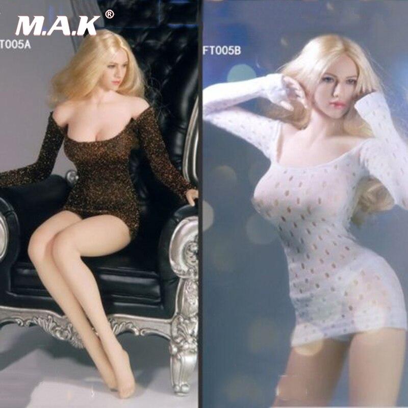 1/6 масштаб женские сексуальные настроить Костюмы Черный Глубокий V мини-юбка F Phicen женский большой бюст рисунок