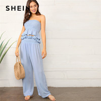 1131b10a963 SHEIN Blue Tassel Hem Smocked Tube Top And Palazzo Pants Women Two Piece  Outfits Summer Vacation