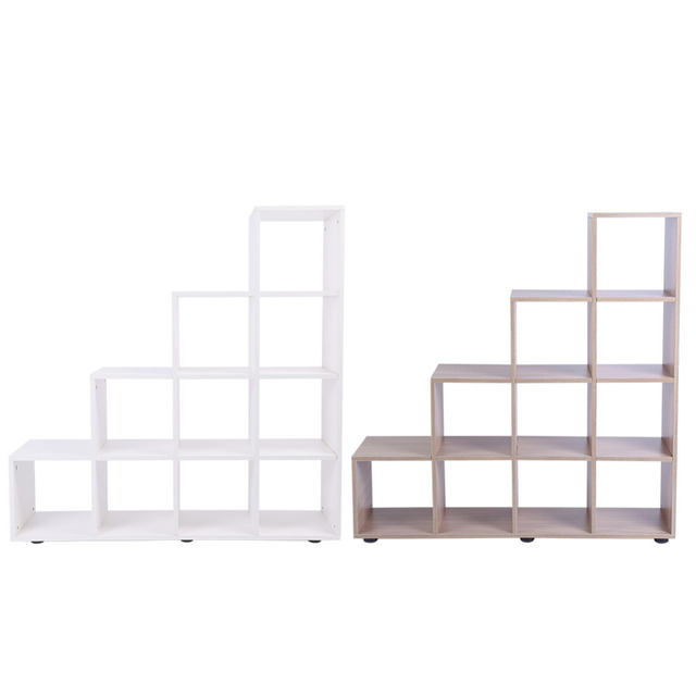 10 Grids Durable Step Bookcase Storage Cube Display Shelf Modern Wooden  Bookshelf Bookcase Home Office Decor