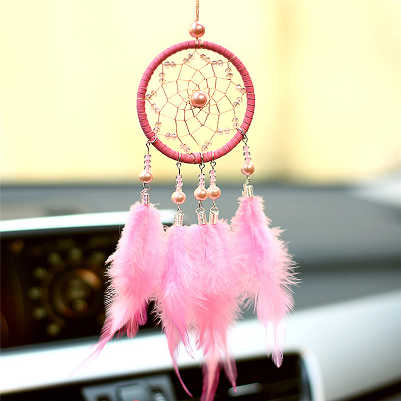 1pc Car Ornament Handmade Indian Dream Catcher Net with Feathers Wind Chimes Wall Hanging Dreamcatcher Car Ornaments Decoration handmade luminous feather bead dreamcatcher decoration