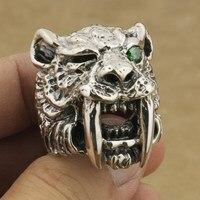 925 стерлингового серебра зеленый CZ саблезуб кольцо мужские Байкер Тигр кольцо TA18A нам 7 ~ 15
