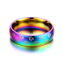 Fashion creative glare colorful small feet titanium steel ring simple stainless couple
