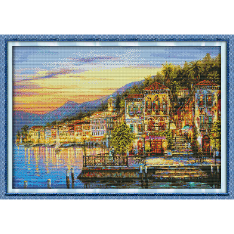 Everlasting love The streetlights came on every night Chinese cross stitch kits Ecological cotton stamped 11CT Christmas 50% off