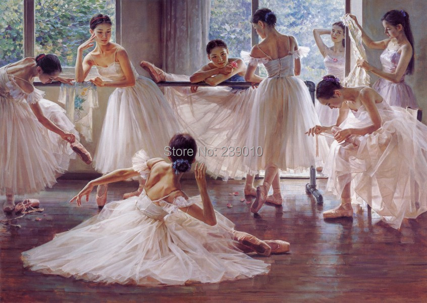 livraison gratuite ballet de danse peinture l 39 huile sur. Black Bedroom Furniture Sets. Home Design Ideas