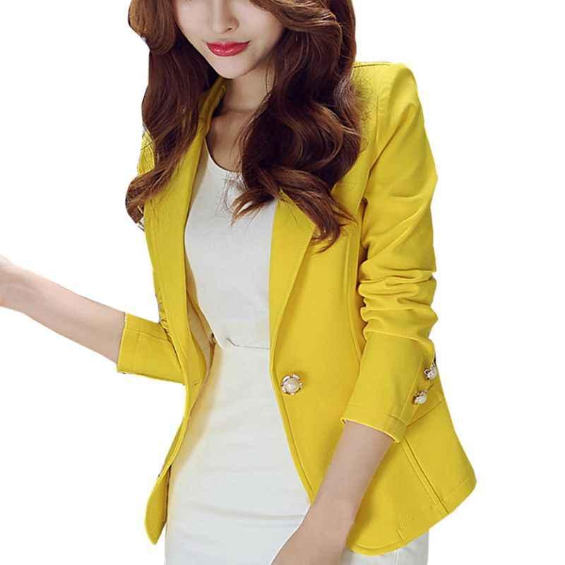 Różowy żółty czarny kobiety blazers 2018 wiosna jesień pojedyncze przycisk Plus rozmiar BlaserOffice Lady elegancka marynarka z długim rękawem F2