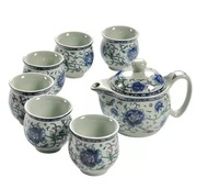Kung Fu Tea Set Ceramic tea pot suit Blue and white porcelain series Anti scald Double layer cup Japanese style tea set gift