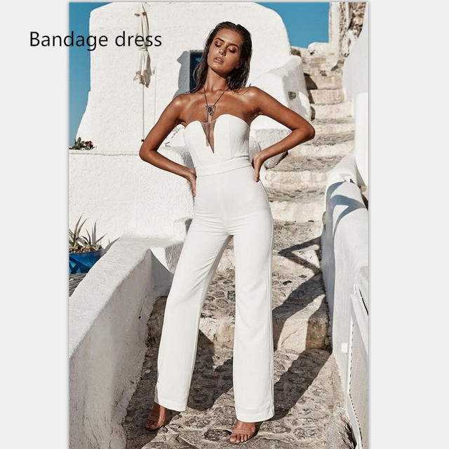 2017 New Autumn Women Rompers Jumpsuit White Strapless Deep V Neck Backless  Celebrity Runway Evening Party Vestidos LB-M444 c6f5c9df2