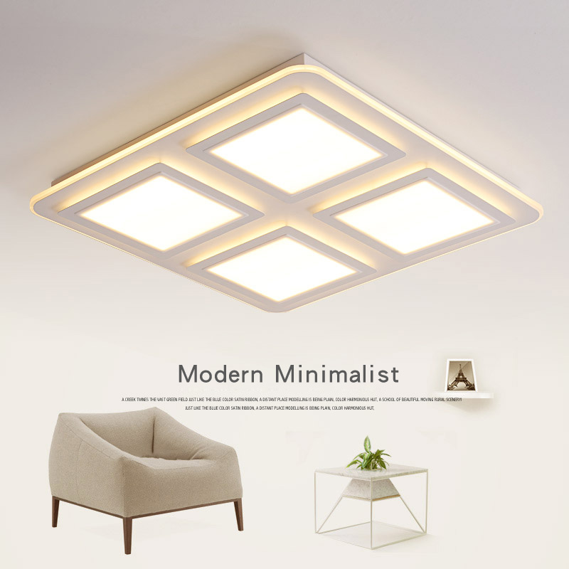 modern minimalist living room lights dimming ceiling lamps LED bedroom lamp iron square atmospheric remote control lamp modern minimalist ceiling lamps led lamps lighting acrylic stars children s room warm ultra thin bedroom lamp