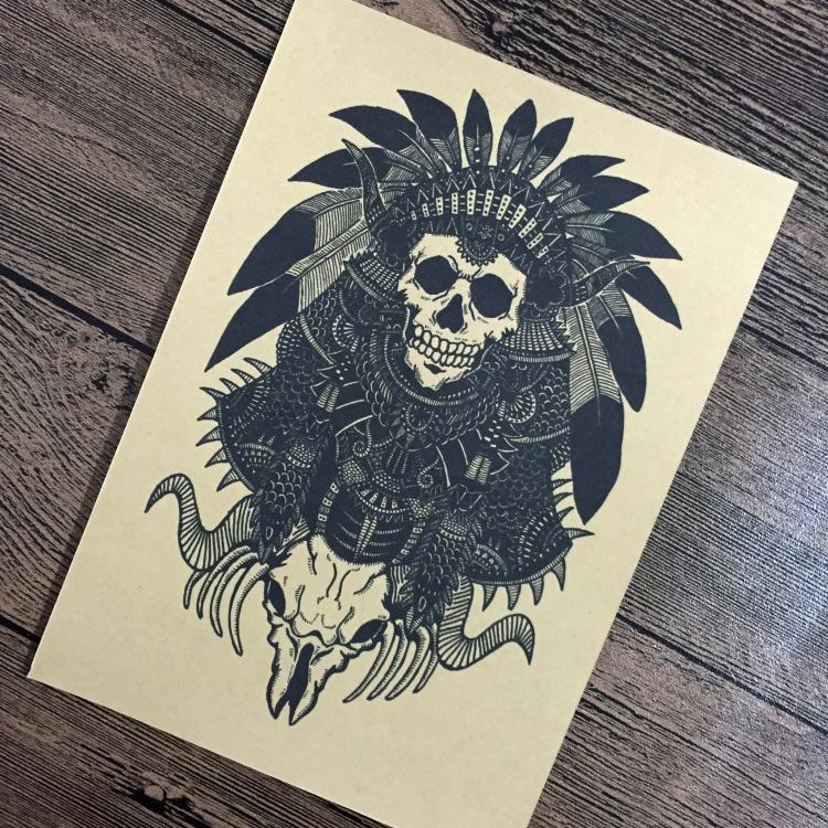 Retro Indians SKULL poster Vintage wall sticker Prints painting living room home decoration 42x30cm YIP-B236