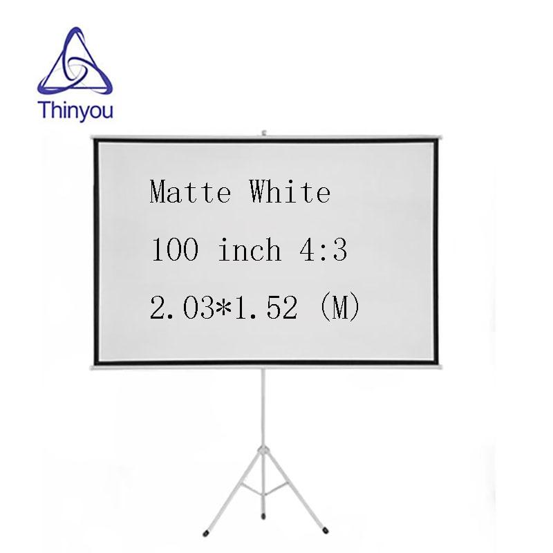 Thinyou 100inch 4 3 Matt White tripod font b projector b font screen HD Floor stand