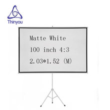 Thinyou 100inch 4:3 Matt White tripod projector screen HD Floor stand Bracket Foldable Stand or home school Factory Supply