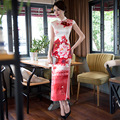 Long Silk Cheongsam Wedding Qipao Dresses Chinese Traditional Dress Robe Chinoise Flowern Qi Pao Vestido Oriental Evening Gown