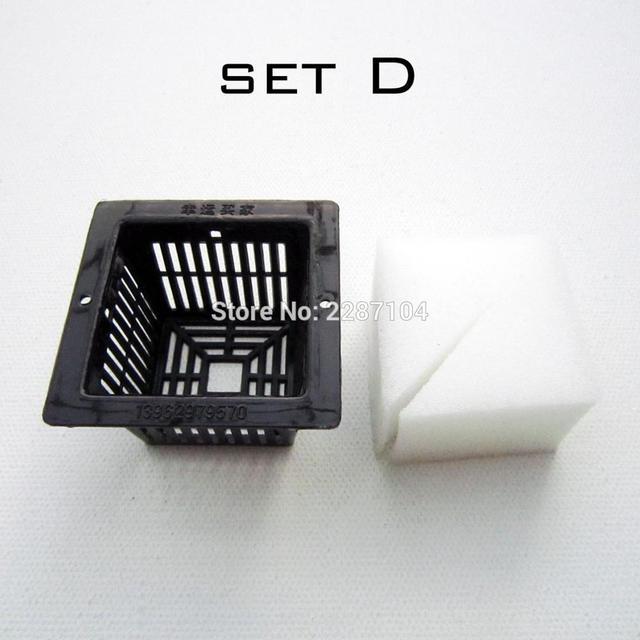 10pcs Black Mesh Pot Net Cup Basket + Clone Cloning Collar Foam Insert Hydroponic Vegetable Plant Grow Seed Germinate 5 size