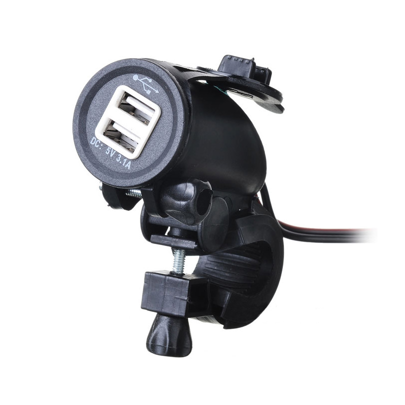 DIY Motorcycle Charger Waterproof USB Charger 1.5M Cable Motorcycle Waterproof Dual USB 5V/3.1A Charger With Mount Holder