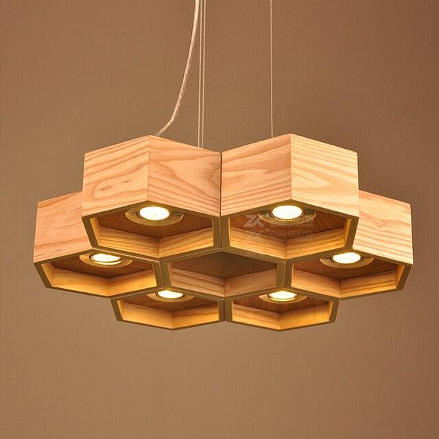 Newest Art Designer Hive Wooden Pendant Lighting 6 12 Lamps Led Spotlight Honeycomb Ash Tree Wood Warm White Lamp