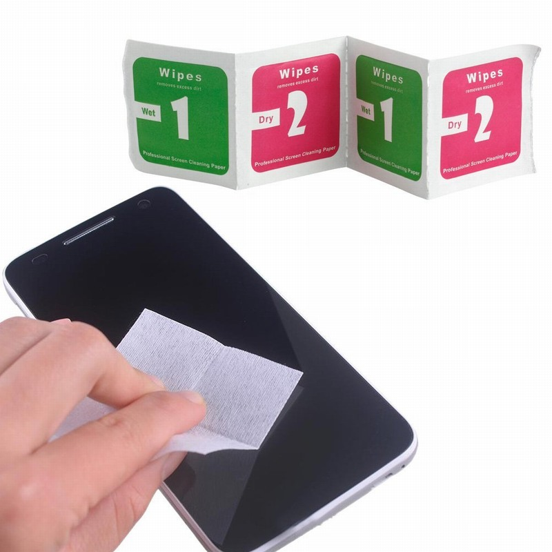 imágenes para 1000 unids/lote lente de la cámara pantalla lcd de eliminación de polvo seco wet cleaning wipes papel para iphone samsung protector de pantalla de cristal templado