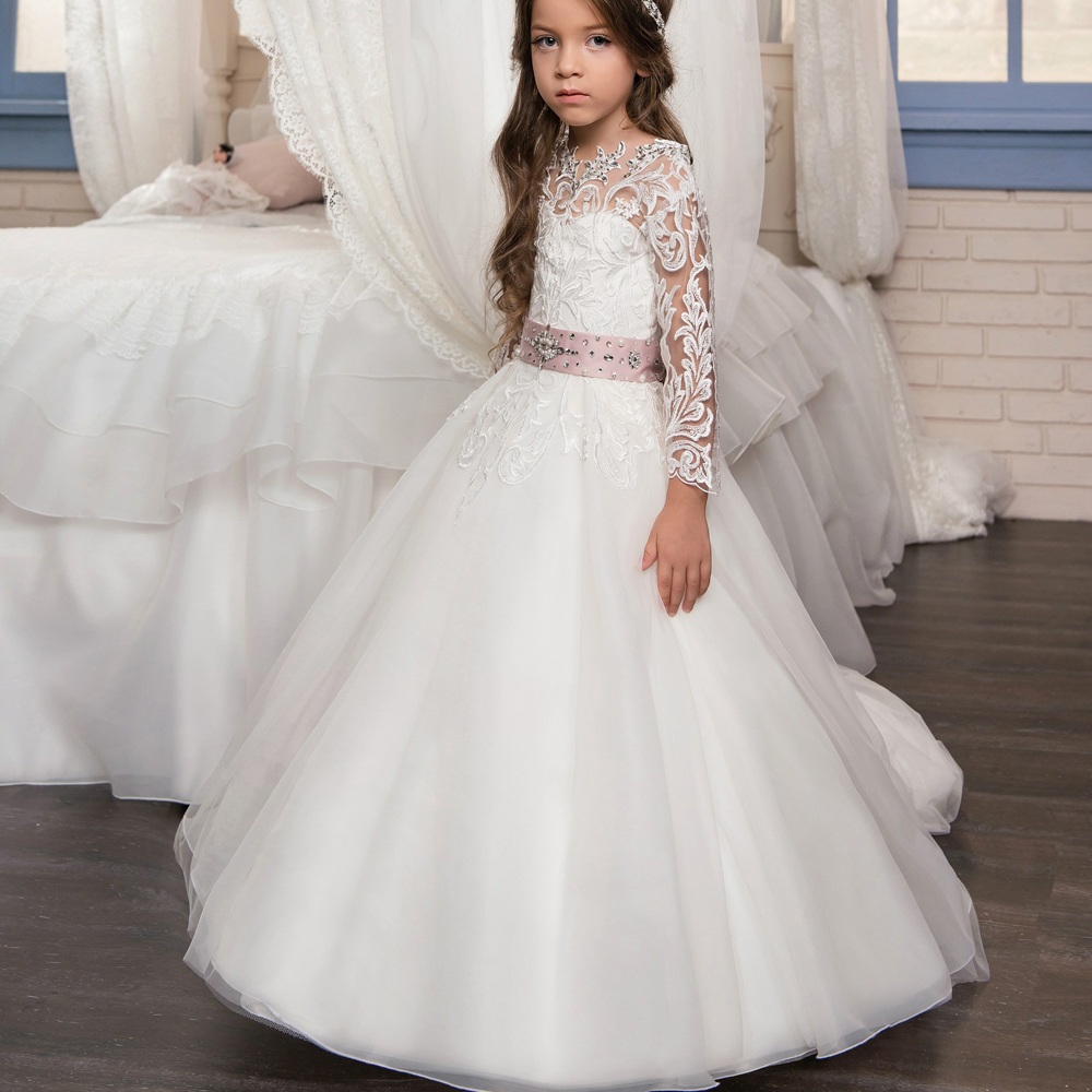 e925c1faf427 New White Long Sleeve Girls First Communion Dress Lace Beading Pageant Gown  Flower Girls Dresses for Wedding Size 2-14Y