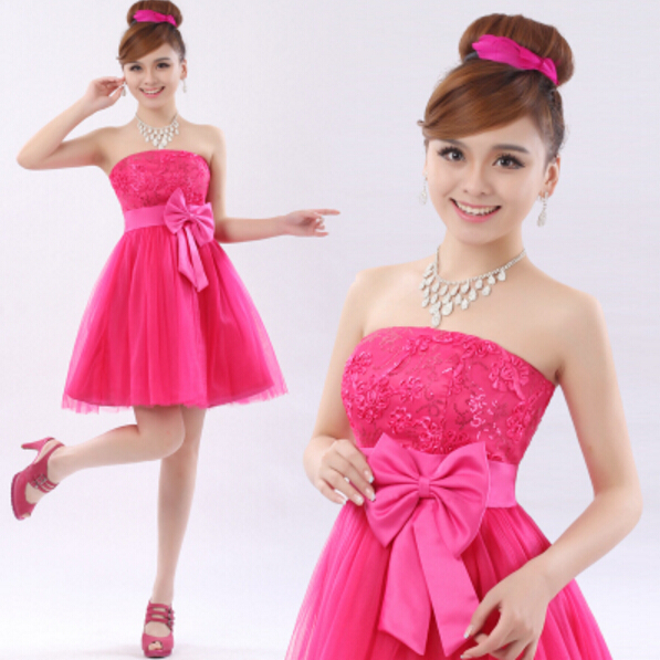 3f3eae9b39c tulle hot pink bridesmaid elegant dress knee length bride brides maid dresses  short cheap for girls weddings 2017 D1015