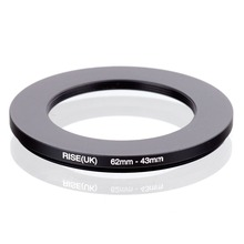 RISE (UK) 62mm 43mm 62 43mm 62 do 43 krok w dół pierścień filtr Adapter czarny