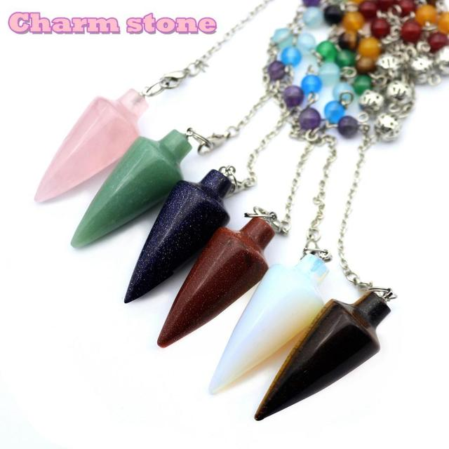 Rainbow Hexagon cone 7 Chakra Layered Stones Fashion jewelry