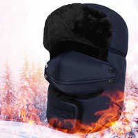 Men Women Winter Warm Earflap Bomber Hats Caps Scarf Russian Trooper Earflap Snow Ski Hat Cap with Fack Mask Trapper Thermal Hat