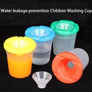 المياه تسرب الوقاية DIY الأطفال غسل كوب الكتابة فرشاة كوب الطلاء كوب اللوحة اليدوية اكسسوارات تسليم عشوائي