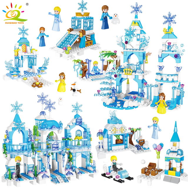 HUIQIBAO Princess Elsa Ice Castle Building Blocks Friends For Girls House Anna Figures Bricks Educational Children Toy