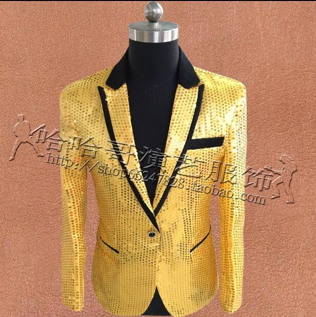 Suits & Blazers Men's Clothing S~5xl New 2019 Mens Clothing Plus Size Gd Red Blue Black And White Gold And Silver Shiny Piece Suit Jacket Singer Costumes