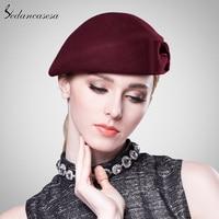 Sedancasesa Women Beret hat Ladies Elegant Cloche 100% Australia merino wool Beret Hat with Airline Stewardess Hat FW121003