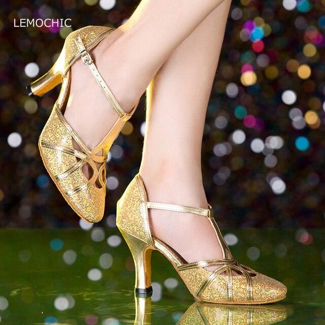 Lemochic Glitter suela blanda América Tango salsa rumba vientre Pointe  profesional salón cómodo tacones altos zapatos 00cf84a37bd9