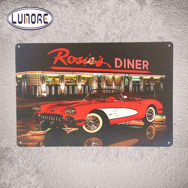 Vintage métal affiche Rosie Diner Américain Vintage voiture Garage ...