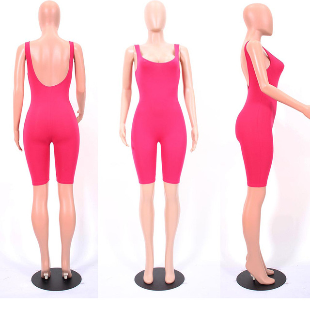 LE CELEBRE Sexy Cotton Bodysuit 2018 Summer Jumpsuits For Women Backless Playsuit Calf Length Body Feminino