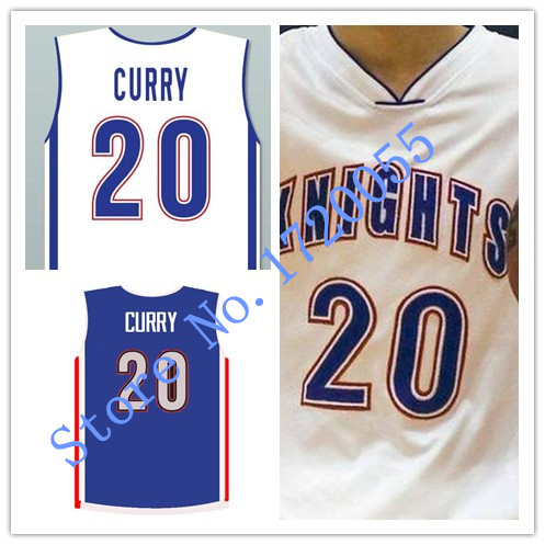 c306e8976597 Stephen Curry  20 Charlotte Christian High School Knights WHITE Throwback  Basketball Jersey Mesh or Rev 30 stitched