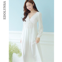 Autumn Vintage Nightgowns V neck Ladies Dresses Princess White Sexy Sleepwear Lace Home Dress Comfortable Long Nightdress #HH13