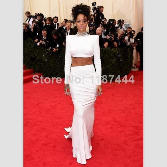 Aliexpress.com : Buy Rihanna White 2014 Met Gala Evening dress Red ...