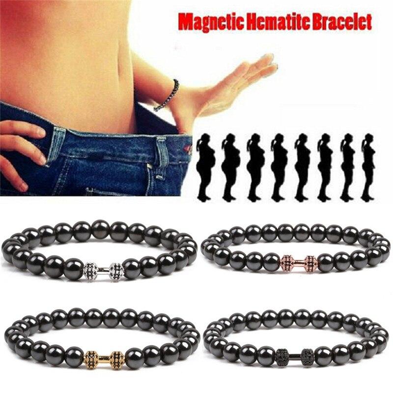 1 Stück Gewicht Verlust Runde Schwarz Gold Stein Magnetische Therapie Armband Gesundheit Pflege Magnetische Hämatit Stretch-armband Für Männer Frauen